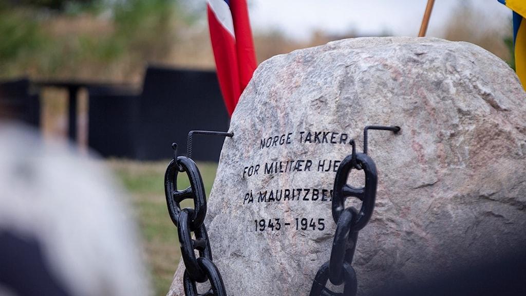 Minnessten över svensk-norska relationer under andra världskriget.