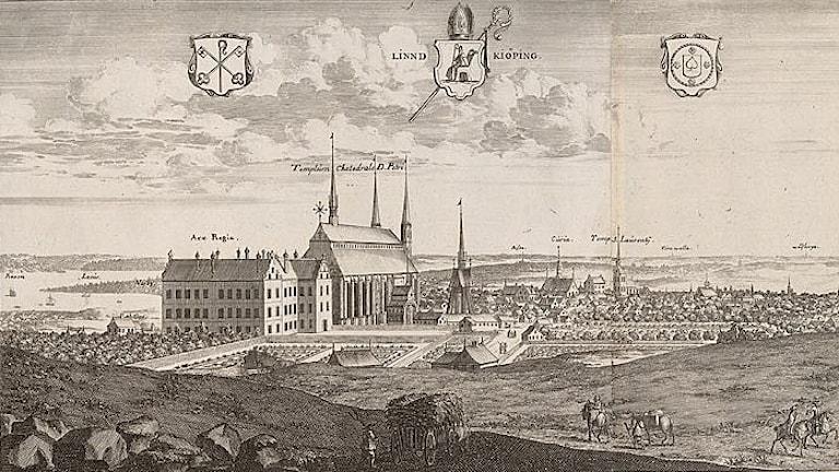 """Linköping i bokverket """"Suecia antiqua et hodierna""""."""