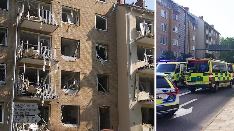 Husfasader med utblåsta fönster. Polisbil och ambulanser.