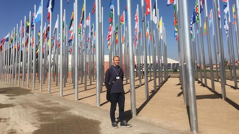 Forskaren Mathias Fridahl på plats i Marocko.