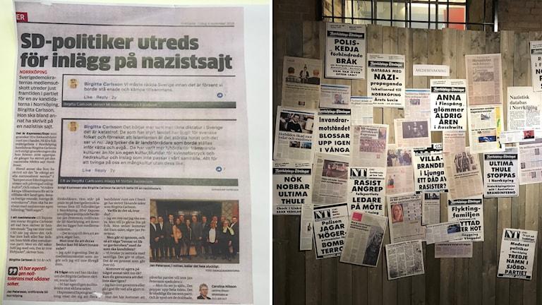 """Tidningsklippet, till vänster, satt tillsammans med de övriga tidningsklipp,som vi ser till höger på bilden, på utställningen """"Medlöperi och Motstånd"""" och som sen utlöste bråket. Källa: Folkbladet 4 sep 2018 och Norrköpings Stadsmuseum."""