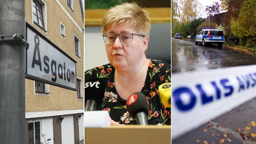 Tredelad bild: Skylt på Åsgatan, åklagare Britt-Louise Viklund och mordplatsen.