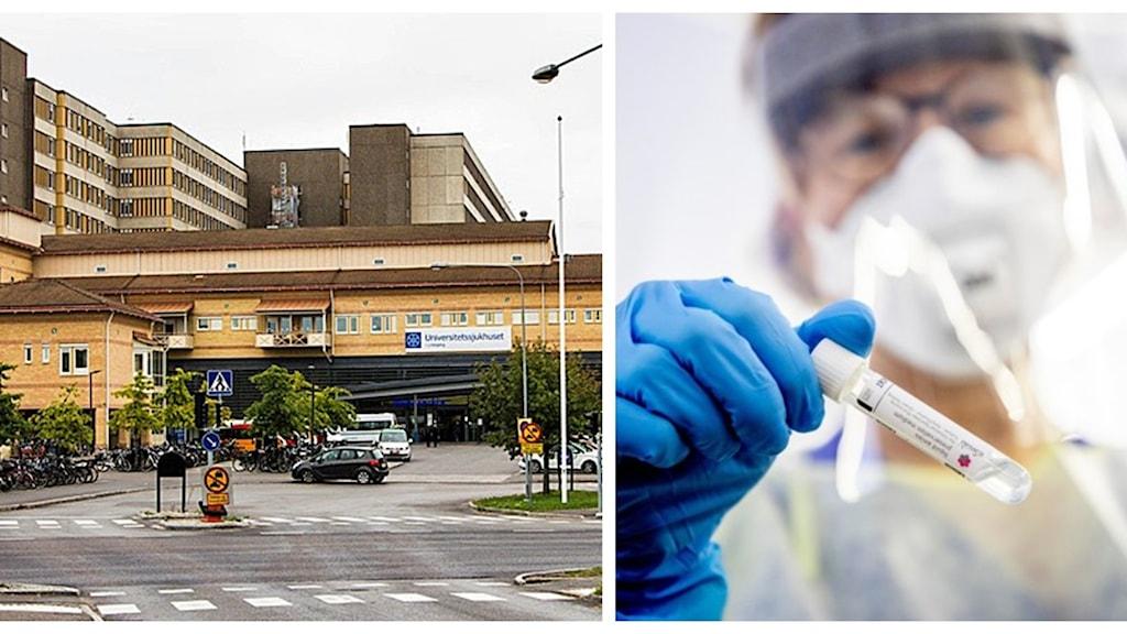 Bild på universitetssjukhuset i Linköping och en bild på kvinna i vården med visir.