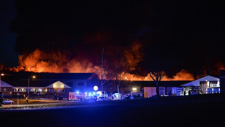 Industribrand Spångsholm utanför Mjölby