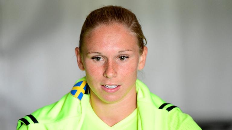 Jonna Andersson under ett träningspass för landslaget i Arnhem.