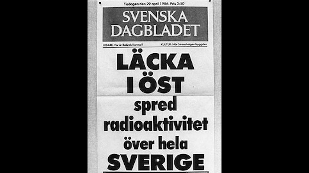 SvD-löpsedel efter Tjernobylolyckan. Scanpix.