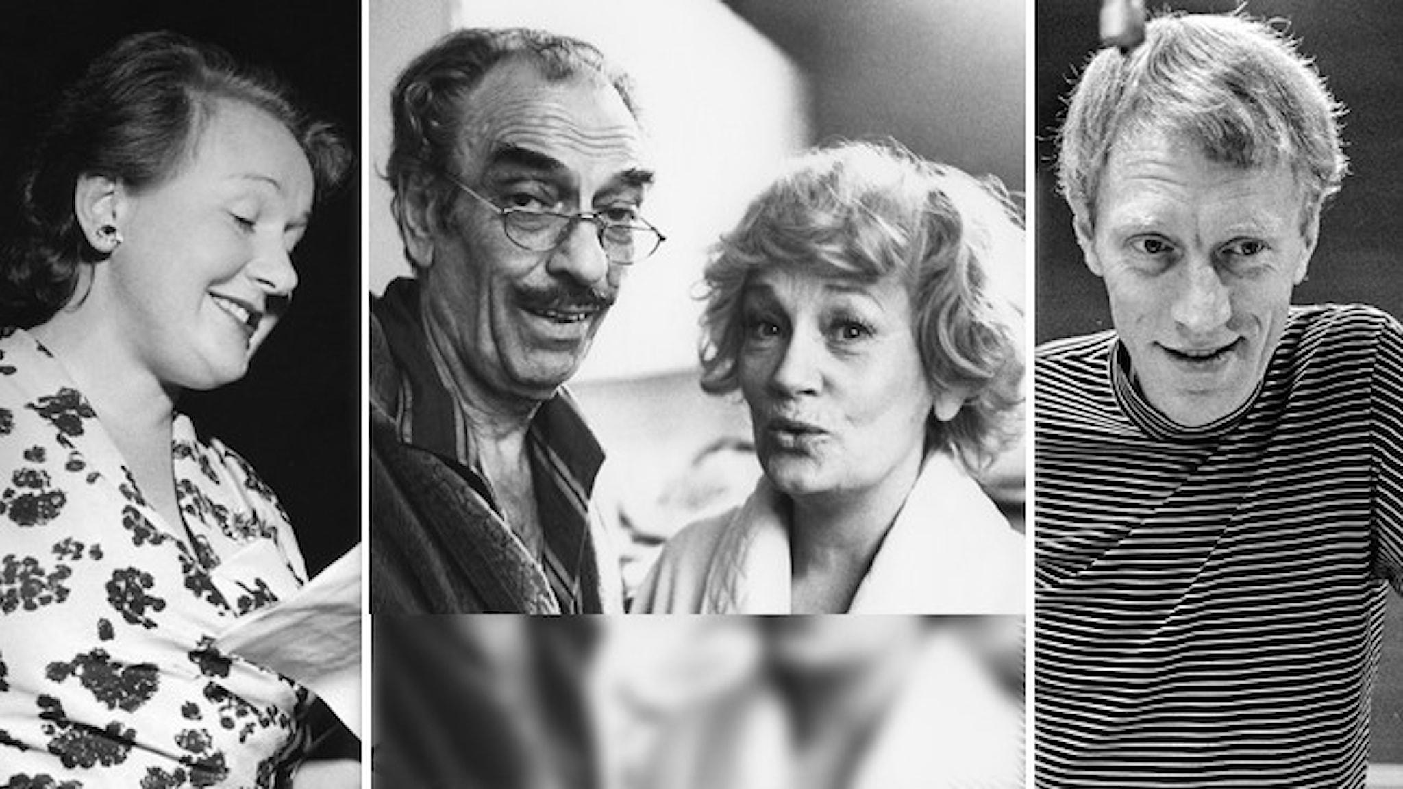 Kvartetten Sif Ruud, Gösta Bernhard, Siw Ericks och Max von Sydow i bildmontage.
