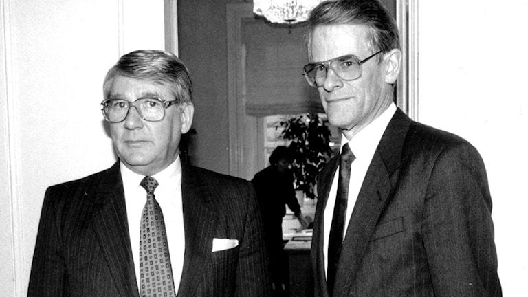 Talman Thage G Peterson och Ingvar Carlsson vid regeringskrisen 1990./TT