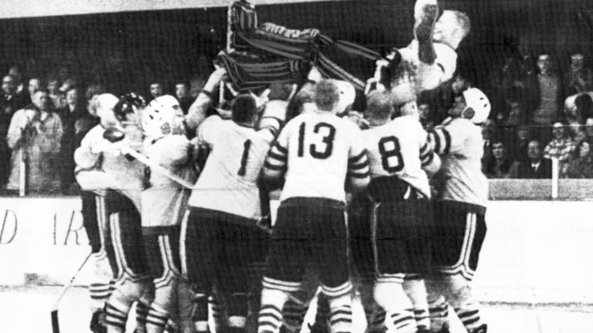 Hockeyguld i Colorado Springs 1962. Foto: TT Nyhetsbyrån.