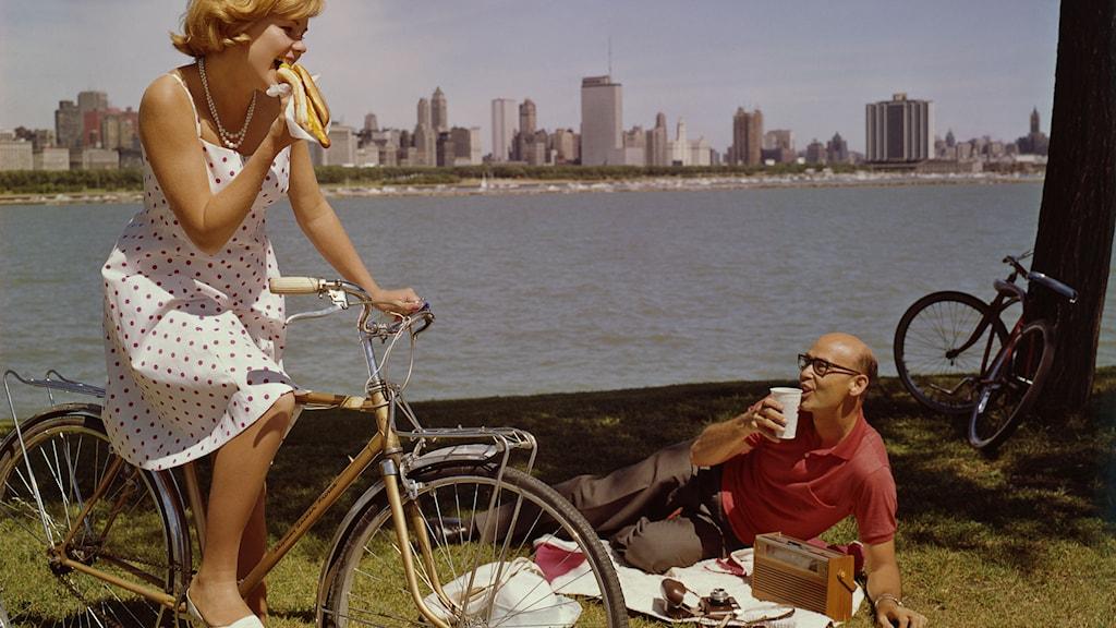På cykeltur i Chicago 1960-tal./SVT Bild