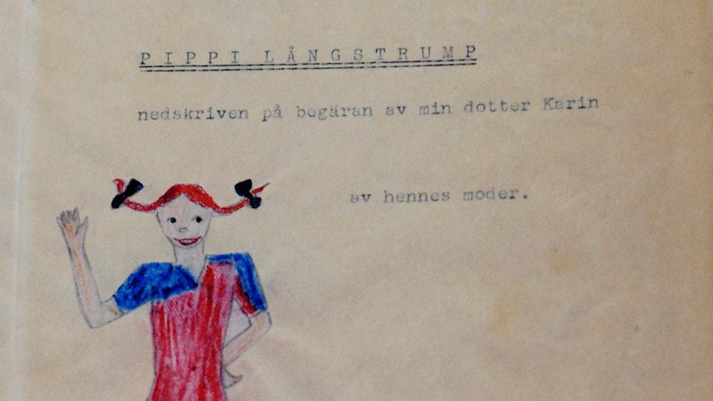 Astrid Lindgrens första bok om Pippi Långstrump som hon gav till sin dotter 1944./TT