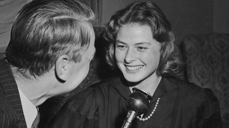Ingrid Bergman intervjuas av Gunnar Helén 1948./SVT Bild
