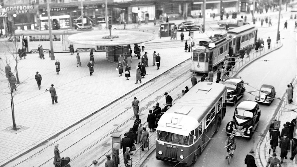 Spårvagn vid Stureplan. SVT Bild.