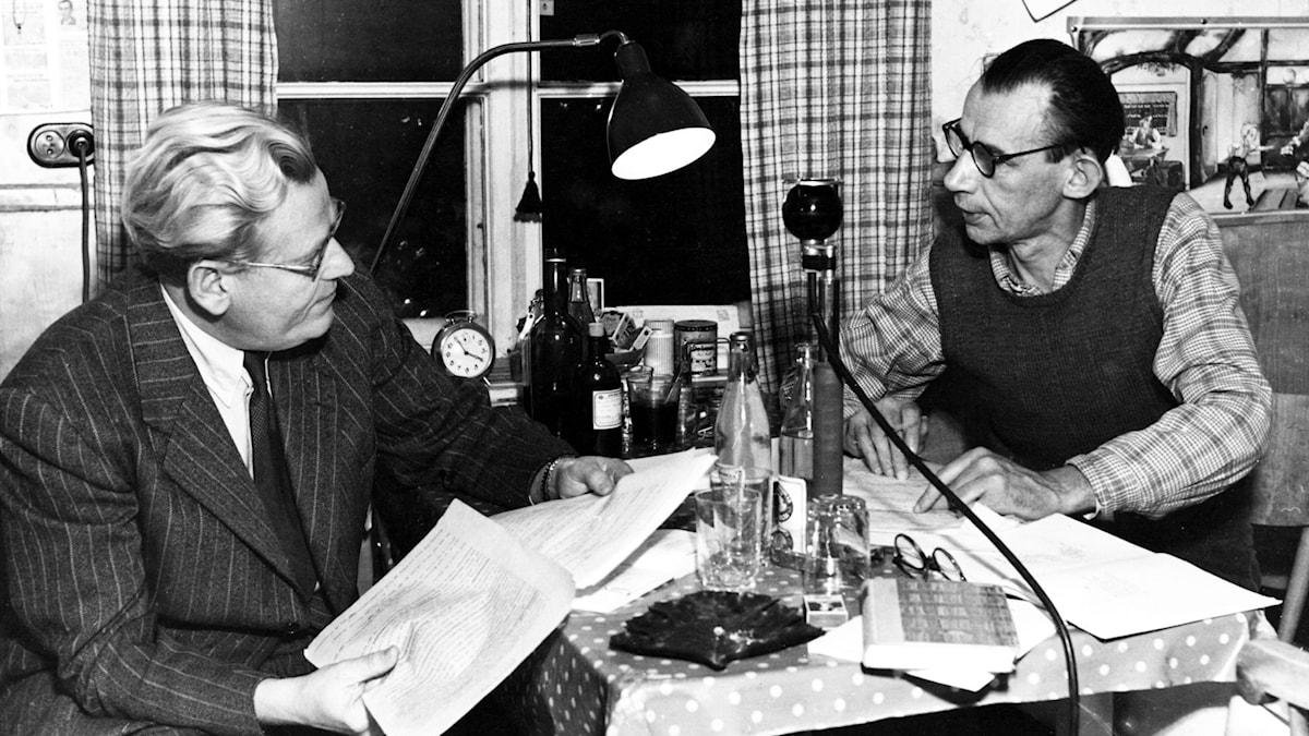 Nils Ferlin och Gunnar Skoglund. SVT Bild.