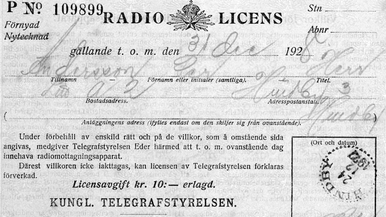 Radiolicens. SVT Bild.