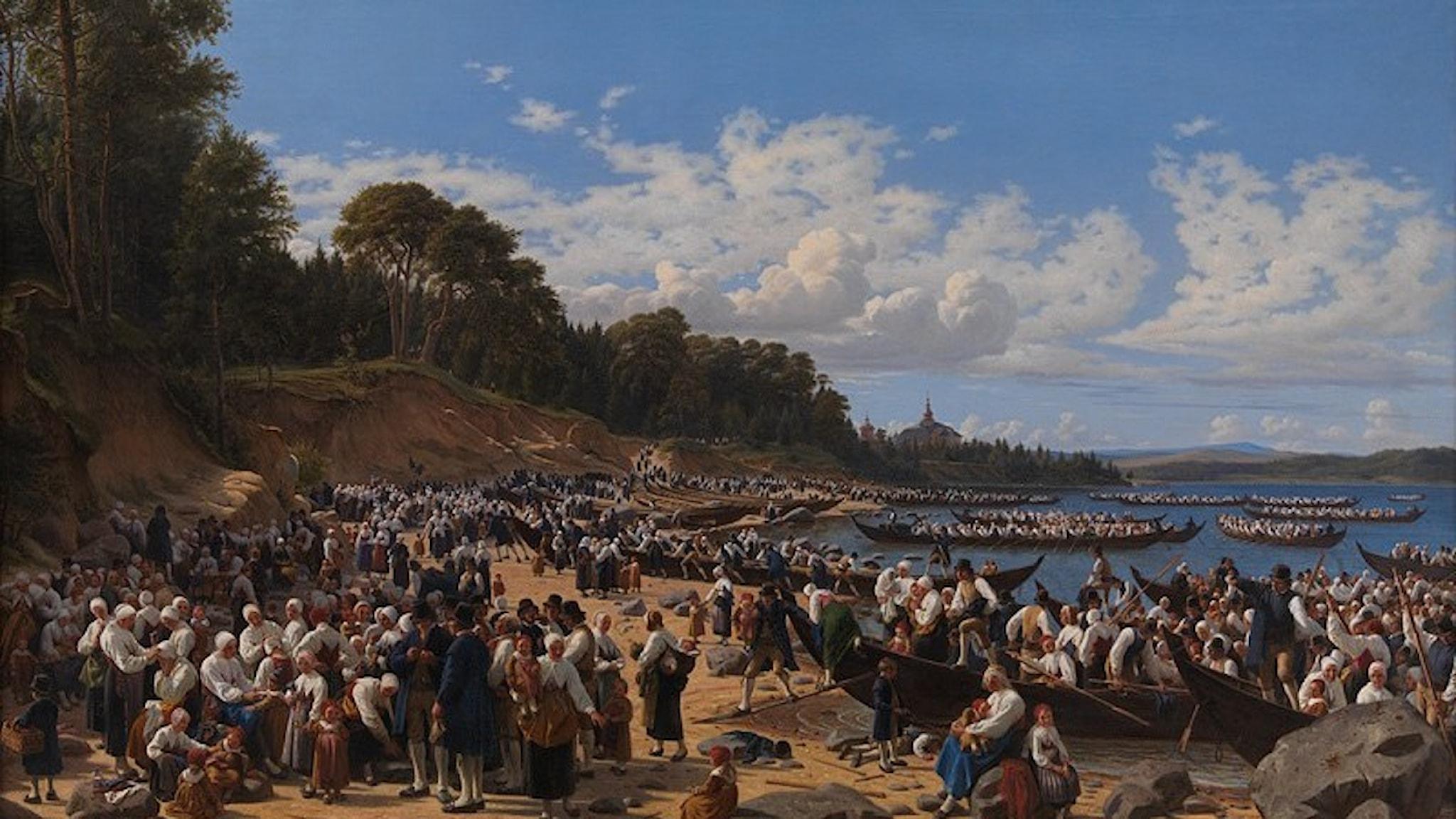 Kyrkobesökare går i land i Leksand, i midsommartid 1851.