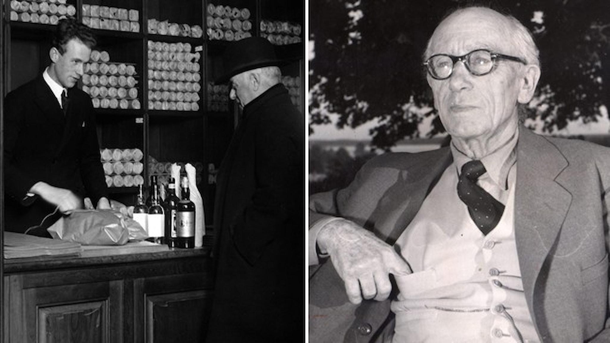 Manlig kund handlar i Systembutik i början av seklet. Läkaren, nykterhetskämpen och industrimannen Ivan Bratt i kostym med väst.