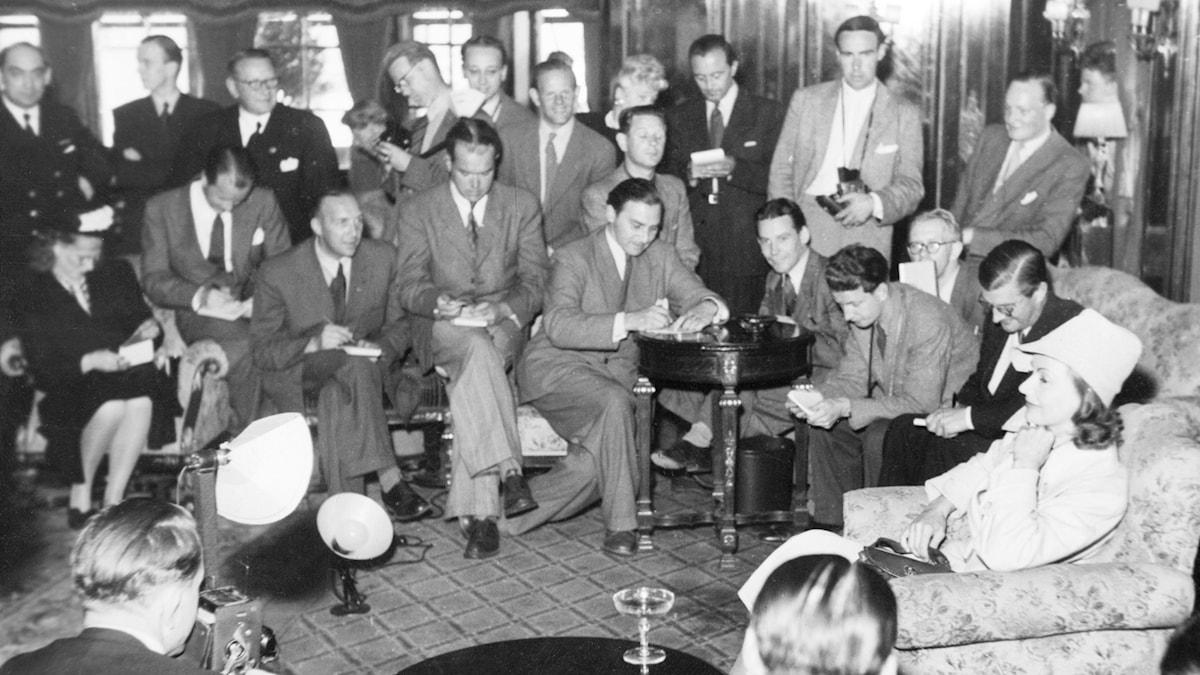 GARBO I SVERIGE 1946. SVT Bild.
