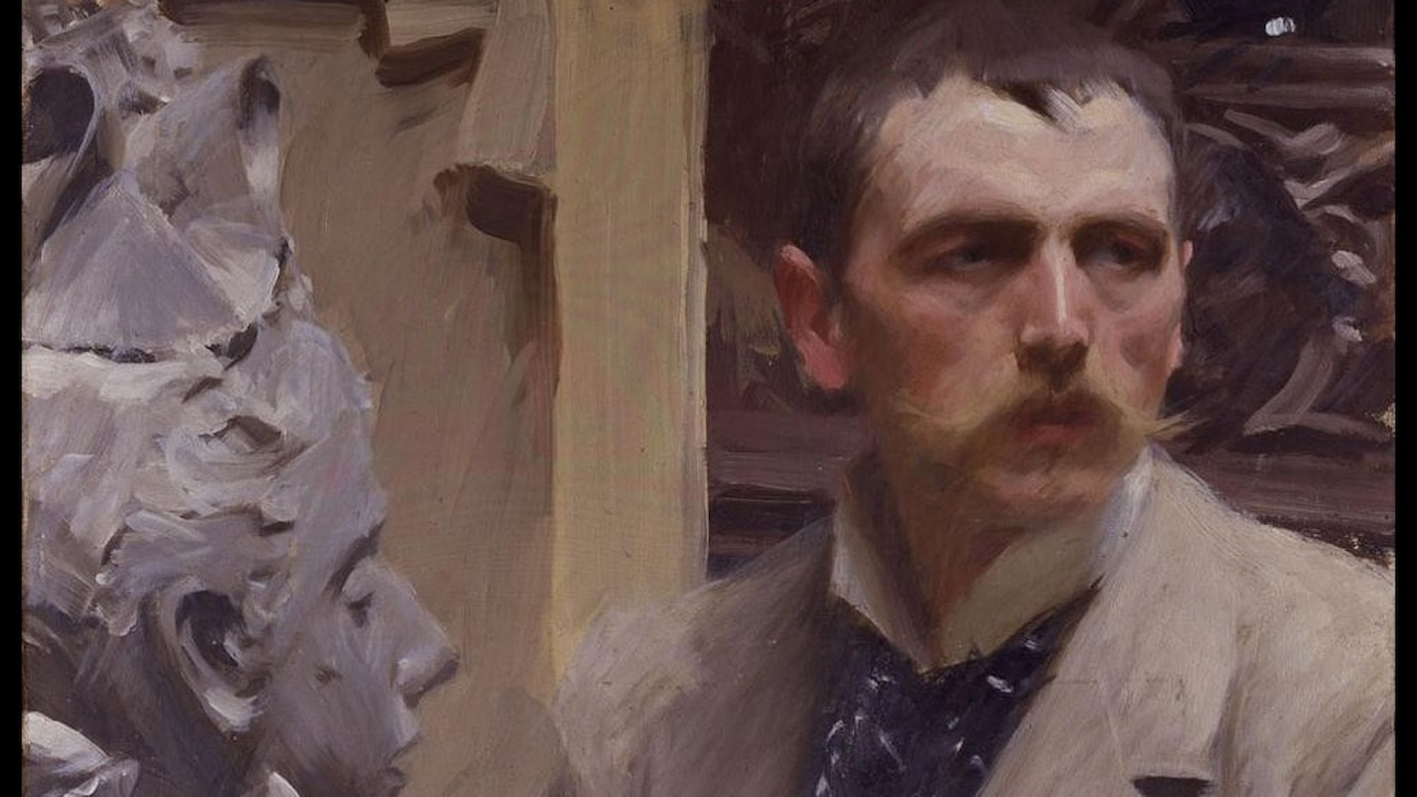 Konstnären Anders Zorns självporträtt med en byst av hustrun Emma Zorn.