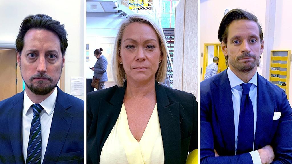 Man i blå kavaj och vit skjorta, kvinna i svart kavaj och gul skjorta, en till man i blå kavaj och vit skjorta - alla tre fotograferade i entrén till en domstol.