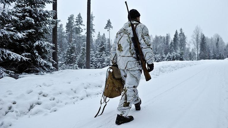 En person i vita jaktkläder går i en snöig skog med ett gevär över axeln.