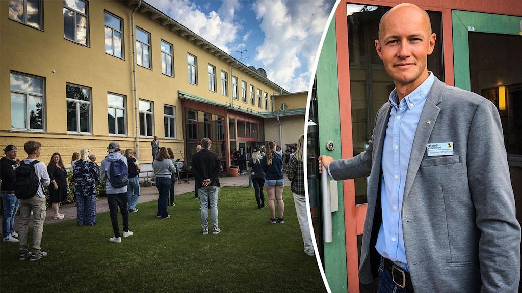 Elever vid Leksands gymnasium och rektor Marcus Zetterlund.