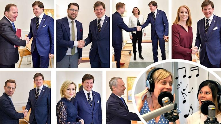 Bildkollage på talman Andreas Norlén som skakar hand med partiledare. Inklippt i bild programledarna Stina och Hanna.
