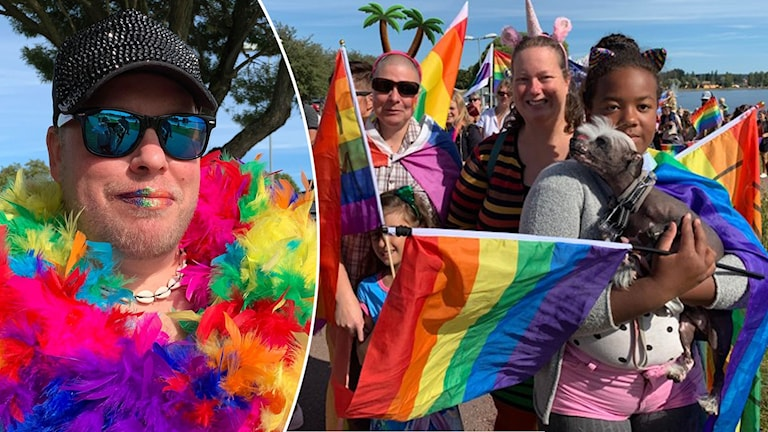 Erik Louko (tv) och familjen Fredriksson (th) deltar i Mora Pride.