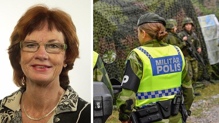 Moderata riksdagsledamoten Ann-Britt Åsebol och militärpolis.