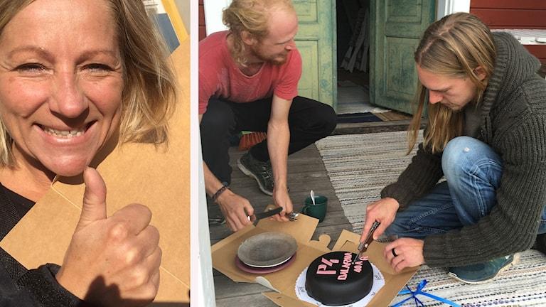 Två personer som delar en tårta