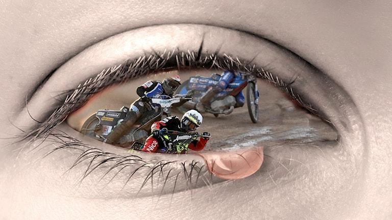 Ett öga med en speedwaybild inuti