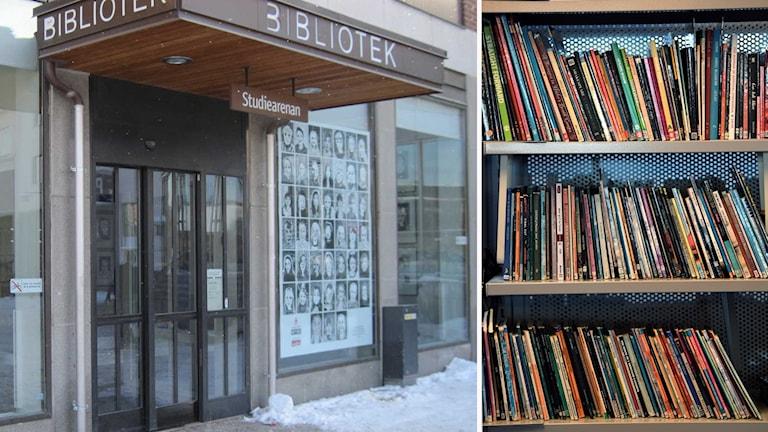 Falu stadsbibliotek och hyllor med böcker
