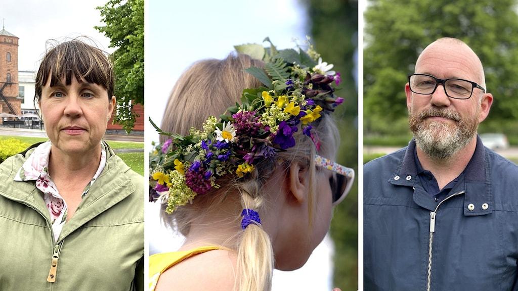 Bildmontage med smittskyddsläkare Helena Ernlund, en flicka med midsommarkrans och Jesper Folkeson på länsstyrelsen.