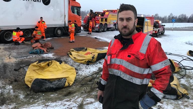 räddningsledare vid en trafikolycka