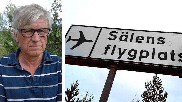 Bertil Helmersson, ordförande i Naturskyddsföreningen i Malung-Sälen och en skylt där det står Sälens flygplats