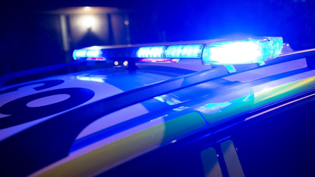 Taket på en polisbil med blåljus, på natten.