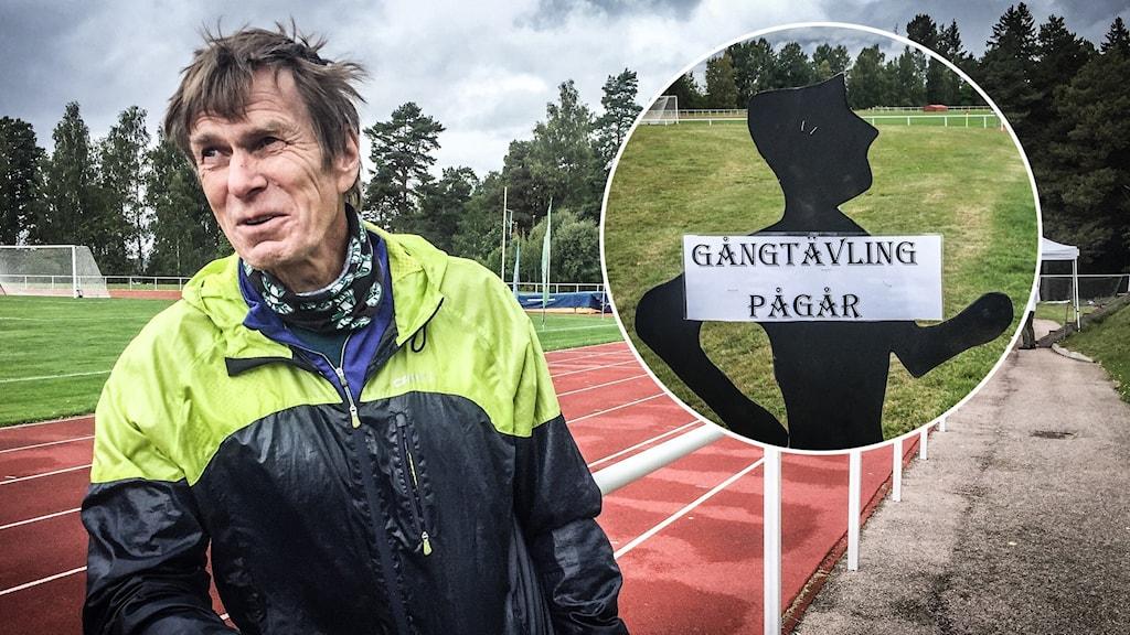"""En man står lutat mot ett räcke intill en idrottsplats, han har träningskläder på sig. På en infälld bild syns en liten skylt där det står """"gångtävling pågår""""."""