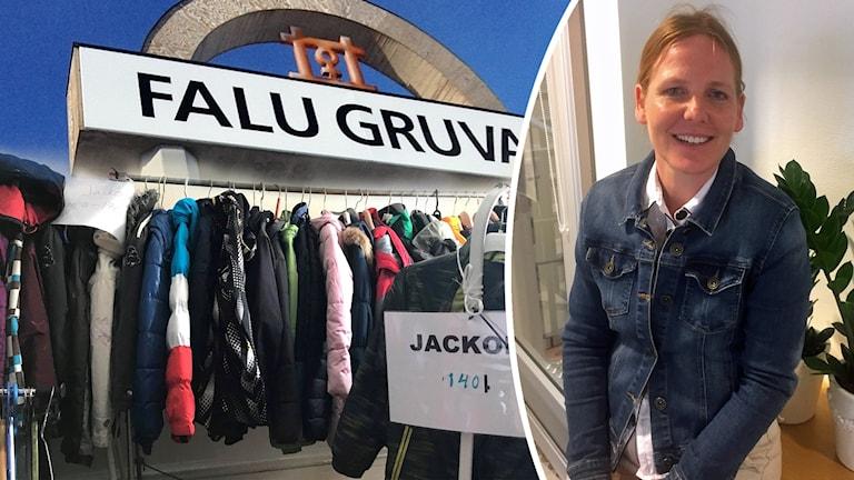 Bildkollage av jackor på klädstång, skylt på Falu gruva och Anna Björkman.