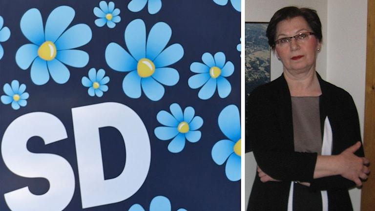 Sverigedemokraternas blommiga logga och Anna Hagwall