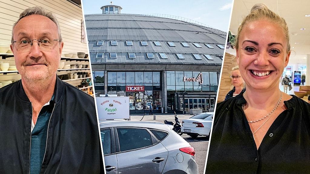 En man i glasögon, ett köpcenter och en kvinna med ett stort leende och blont hår uppsatt.
