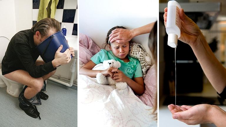 Tredelad bild på dels en man som sitter på toa med huvudet över en hink, dels ett barn som ligger i sängen och ser sjukt ut, dels ett par händer och en flaska handsprit.