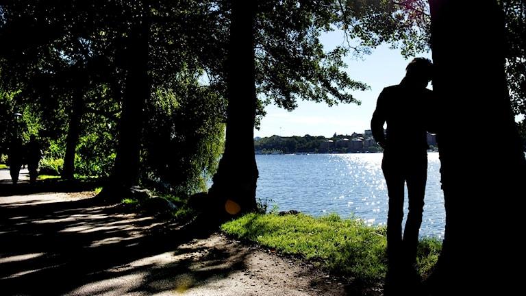 En siluett av en kvinna som står ensam och ser ut över en sjö.