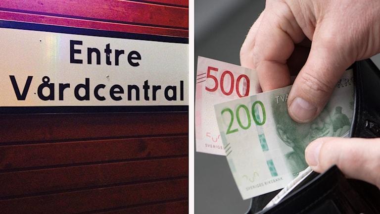 Vårdcentral och en plånbok med pengar