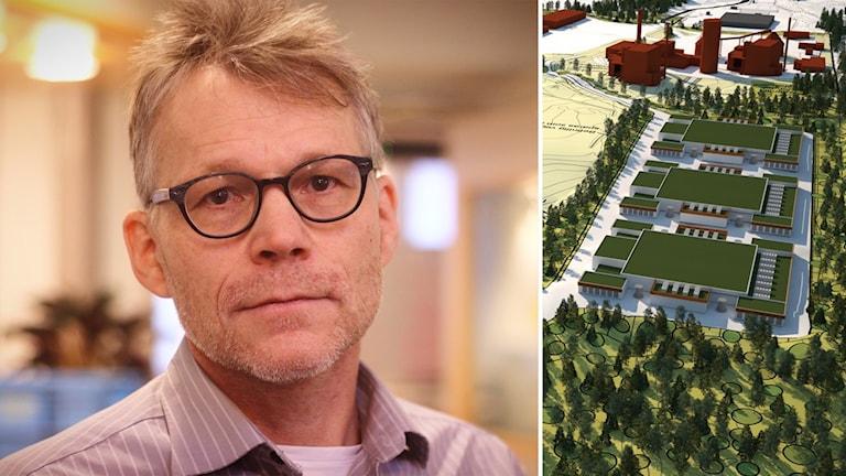Svante Parsjö Tegnér, gruppledare för Liberalerna i Falu kommun, och en arkitektskiss på hur datahallarna var tänkta när Falu Energi och Vatten drev projektet.