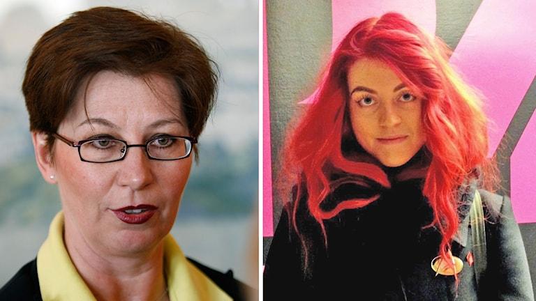 Sverigedemokraten Anna Hagwall och SSU Dalarnas ordförande Sofie Eriksson.