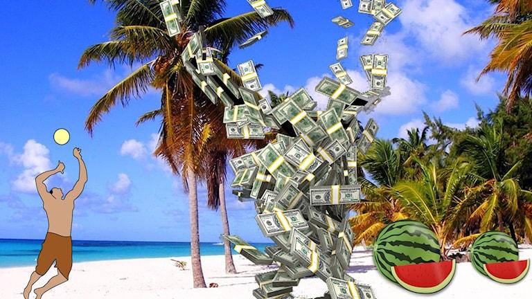 En strand med pengaregn och meloner på backen