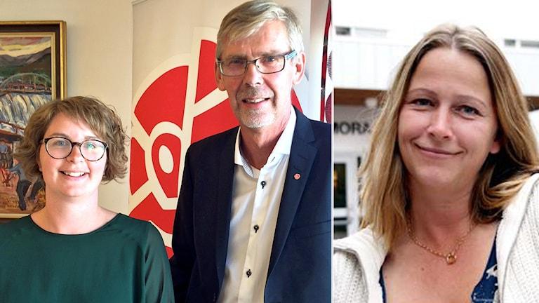 Elin Norén och Gunnar Barke står bredvid varandra i ett rum och tittar in i kameran. Katarina Sollgård Norlin står framför Mora lasarett.