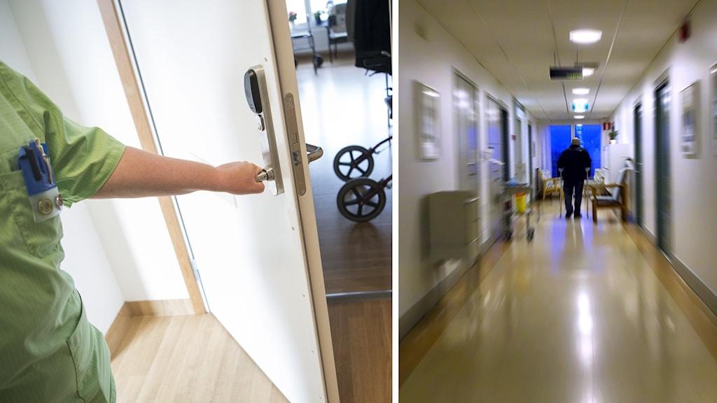 Undersköterska öppnar en dörr samt bild med rörelseoskärpa på man som går med rullator i en korridor.