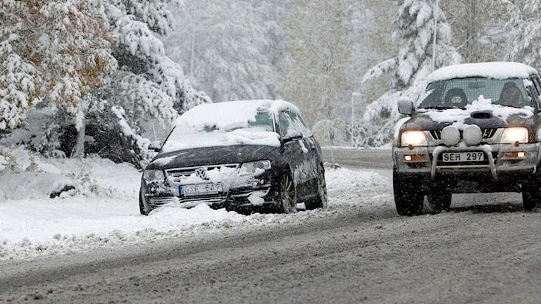 Bilar i snöoväder. Foto: Sören Andersson/Scanpix.