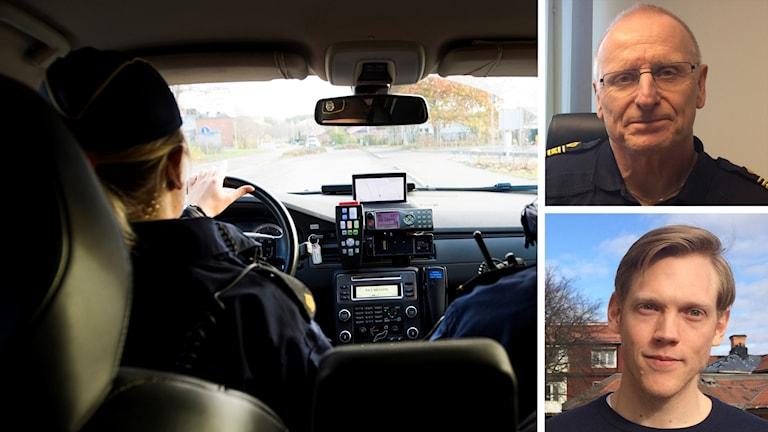 En polis kör en polisbil. Polisområdeschef i Dalarna Lars Lindahl och Polisförundets ordförande i Dalarna Magnus Rosenback.
